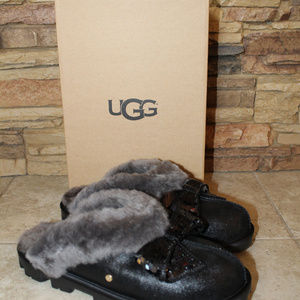 UGG Shoes - UGG COQUETTE SPARKLE BOW SLIPPERS BLACK